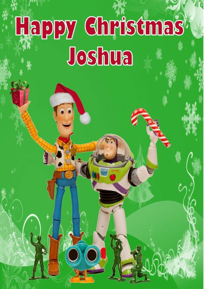 Toy Story Christmas : Personalised woody buzz toy story christmas card